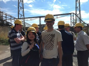 Twinning participants Pieter Jansen (Both ENDS) and Chen Yu (Green Watershed) visit one of the two power plants outside Pristina financed by the World Bank and a nearby affected village