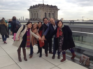 Twinners on the rooftop of the German parliament
