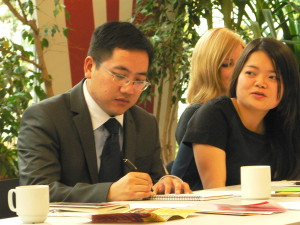 Chen Yu and Ding Peng at the Capacity Building Workshop for Chinese Twinning Participants in Berlin